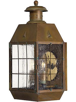 Nantucket Large Porch Light With Clear Seedy Glass Brass Outdoor Lighting Porch Lighting Outdoor Wall Sconce