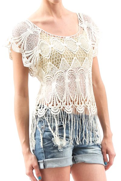 Crochet Fringe Top  $12.99