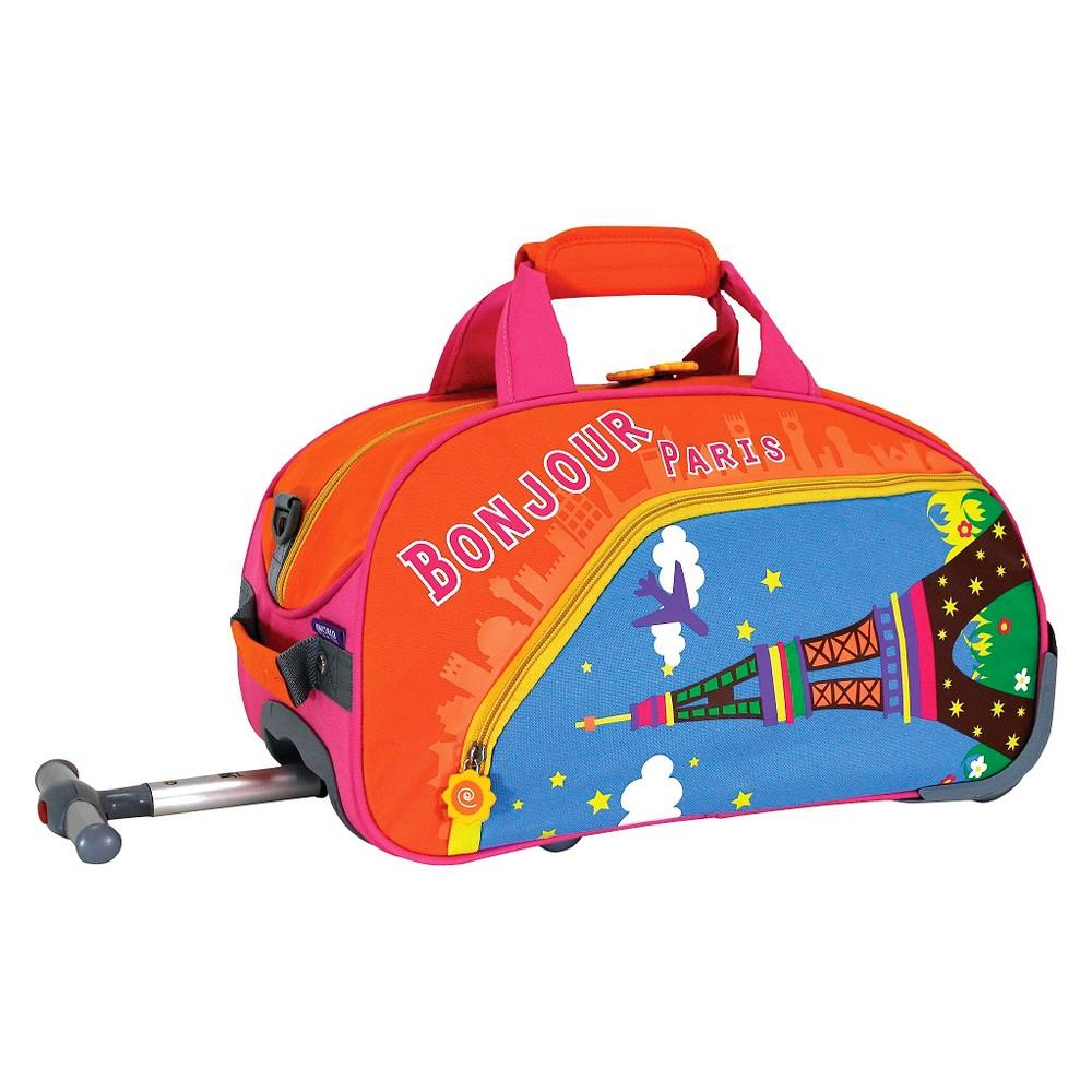 J World Paris Kids Rolling Duffel Bag - Orange/Blue