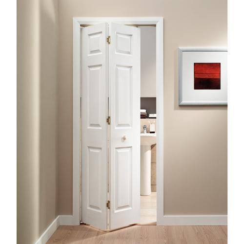Wickes woburn internal bi fold door white grained moulded for Small bathroom entry door ideas