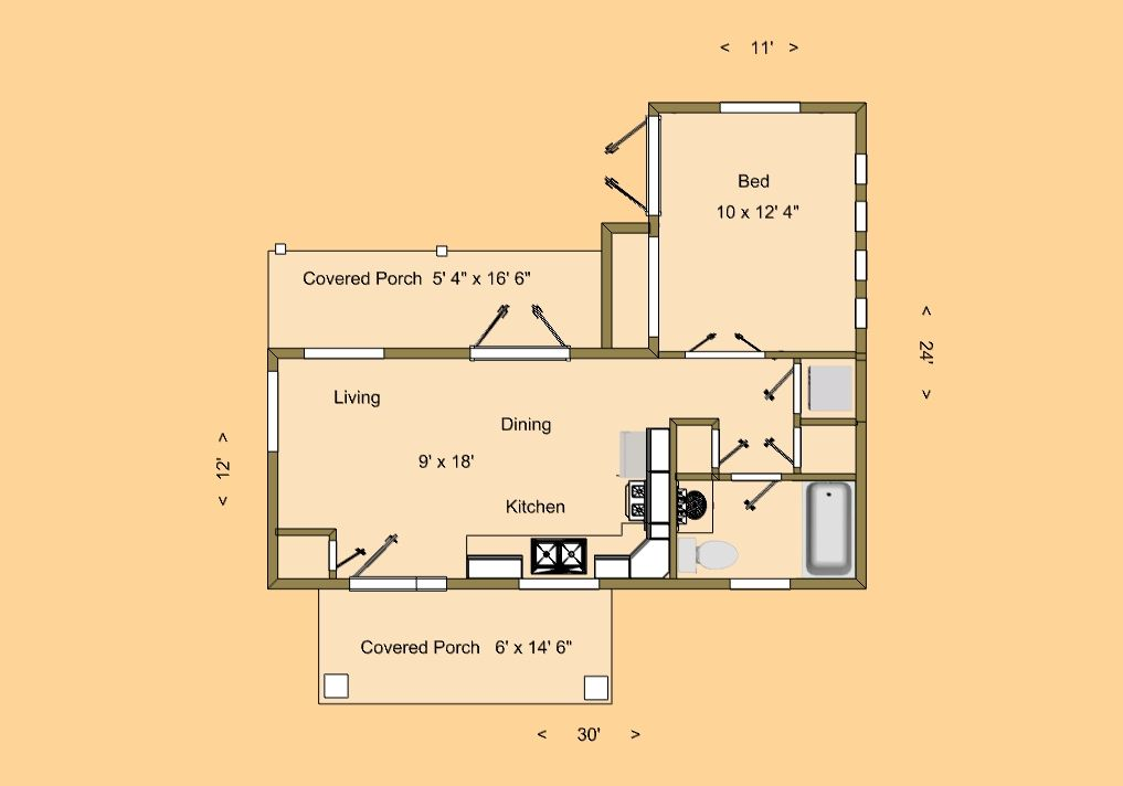 Cozyhomeplans Com 505 Sq Ft Small House Floor Plan Mount Kiska With Sizes Small House Floor Plans House Floor Plans Small Floor Plans