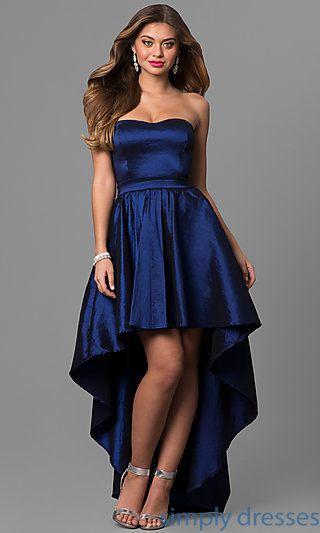 SY-ID4159VP - Strapless Navy Blue High-Low Prom Dress in Taffeta