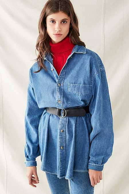 f91da2169 Vintage Oversized Denim Button-Down Shirt | Clothing and Accessories ...