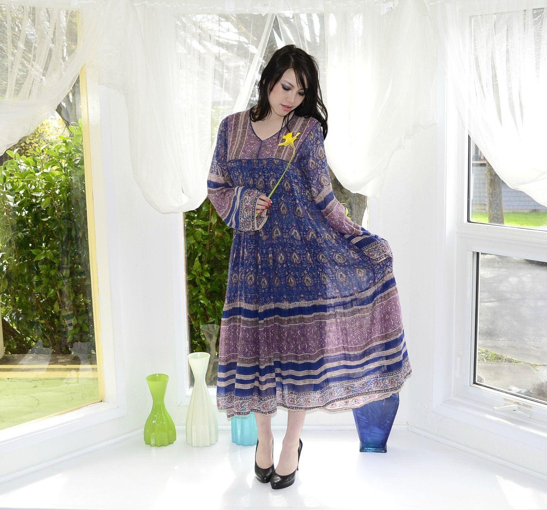 0ed459bd4b Sheer India Cotton Gauze Vintage 60s 70s Hippie Dress S M.  75.00 ...