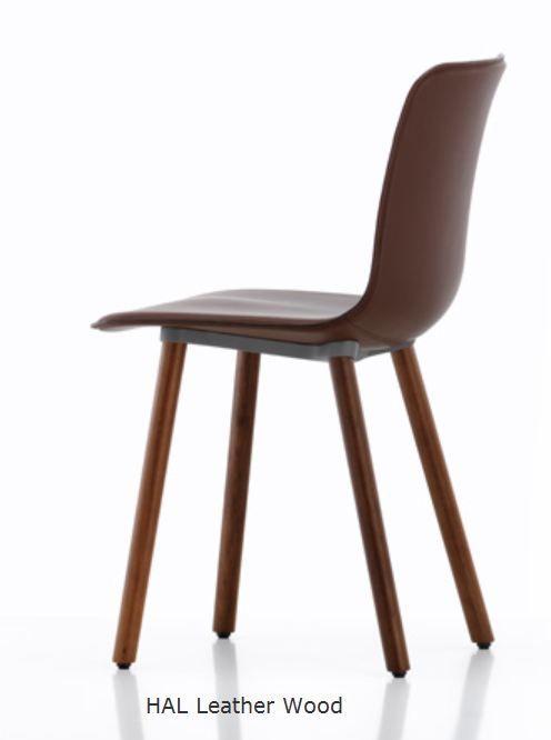 Vitra Hal Leather Wood Chair Stuhle Leder Box