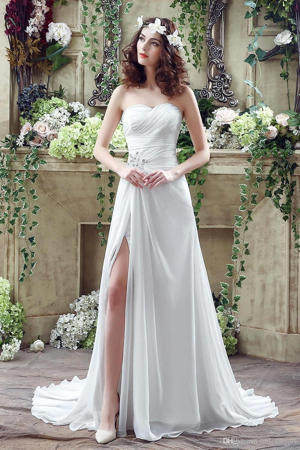 Beach chiffon wedding dress  Click to Buy ucuc New Arrival  Cheap Beach Wedding Dresses
