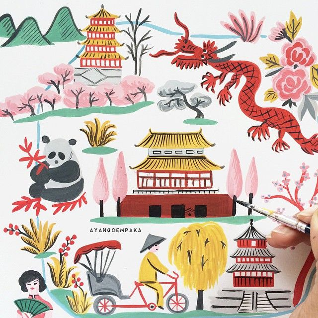 Ayang Cempaka On Instagram Forbidden City Ayangcempaka 365travelsketch Drawing Wip Chinese Folk Art Illustration Illustrated Map