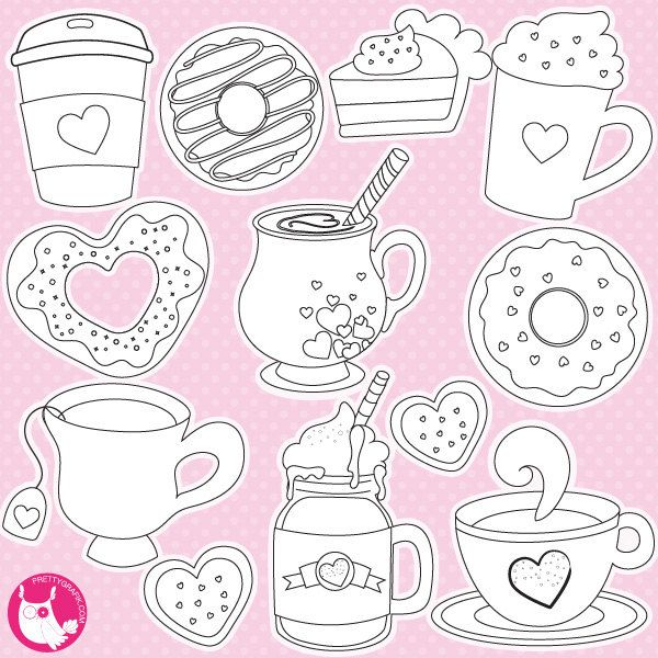 valentine drinks digital stamp commercial use vector graphics