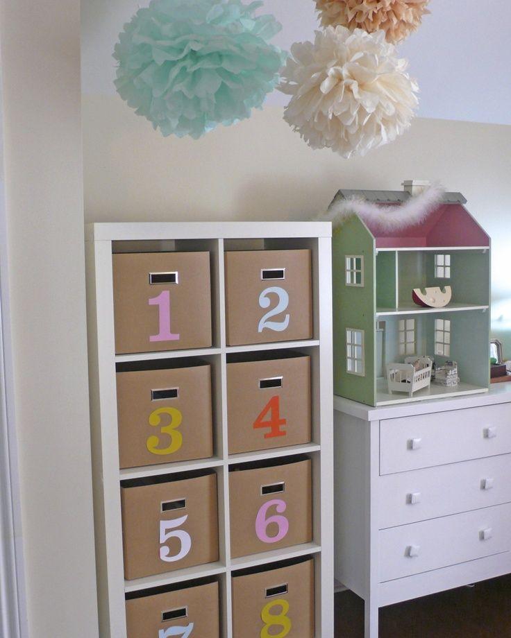 Ikea expedit kraft colored bins colored vinyl numbers cajas pinterest - Ikea almacenamiento ninos ...