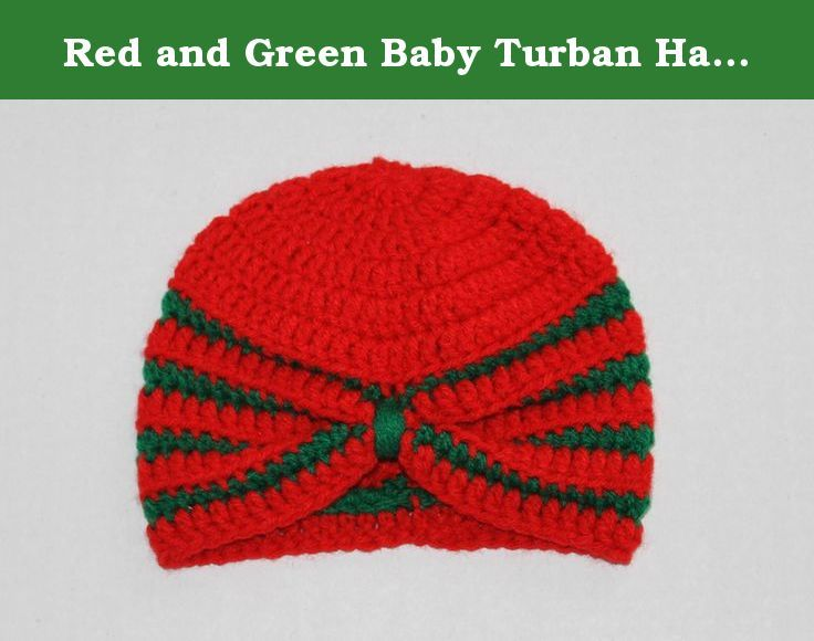 Red and Green Baby Turban Hat 0-3 Months. This colorful little hat is just perfect for the stylish baby's ride home from the hospital. It is made of acrylic yarn in red and green. In person it's a little more red than the photos. Fits 0-3 months. Great Christmas time hat for your new baby. .