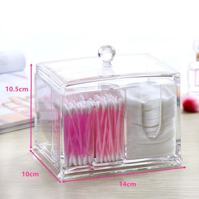 Fashion Clear Acrylic Cotton Swabs Organizer Box Cosmetic Q Tip Storage  Holder Makeup Storage Box Portable