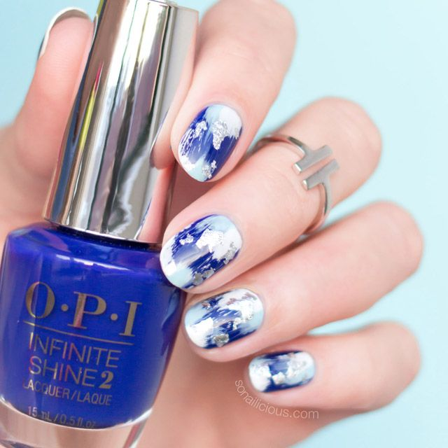 12 Brilliant Foil Nail Designs to Try This Weekend | Silver nail ...
