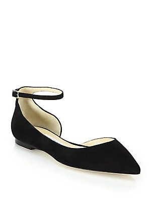 24fd20bfe690 Jimmy Choo Lucy Sue Suede Ankle-Strap Flats