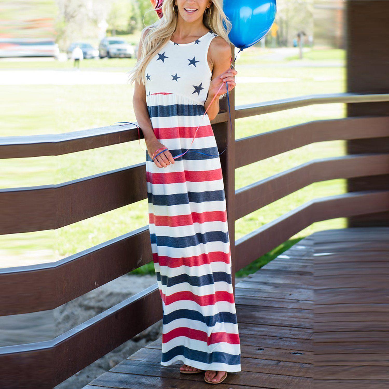 Nursing Tops Lisli Womens Summer Maxi Dress American Flag Print Patriotic Striped Ruffle Tank Top 4th Of July Dresses Women Maxi Dresses Summer Vest Dress [ 1500 x 1500 Pixel ]
