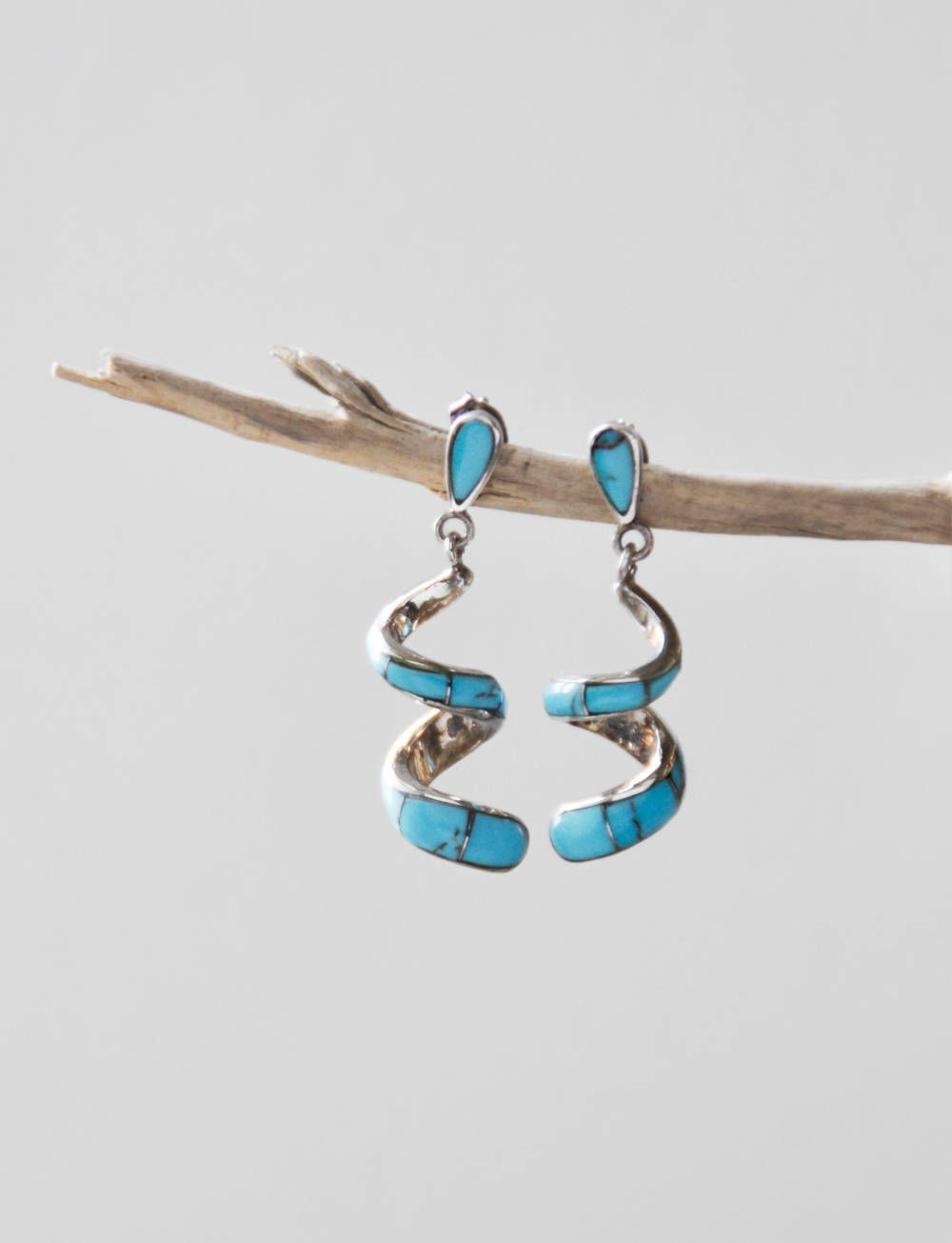 4ca0ba4d3 Vintage Zuni Spiral Turquoise Earrings - inlaid sterling silver Native  American post back teardrop studs with curly drops by CuriosityCabinet on  Etsy