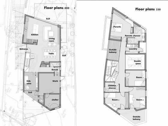 Planos de casa moderna de dos plantas