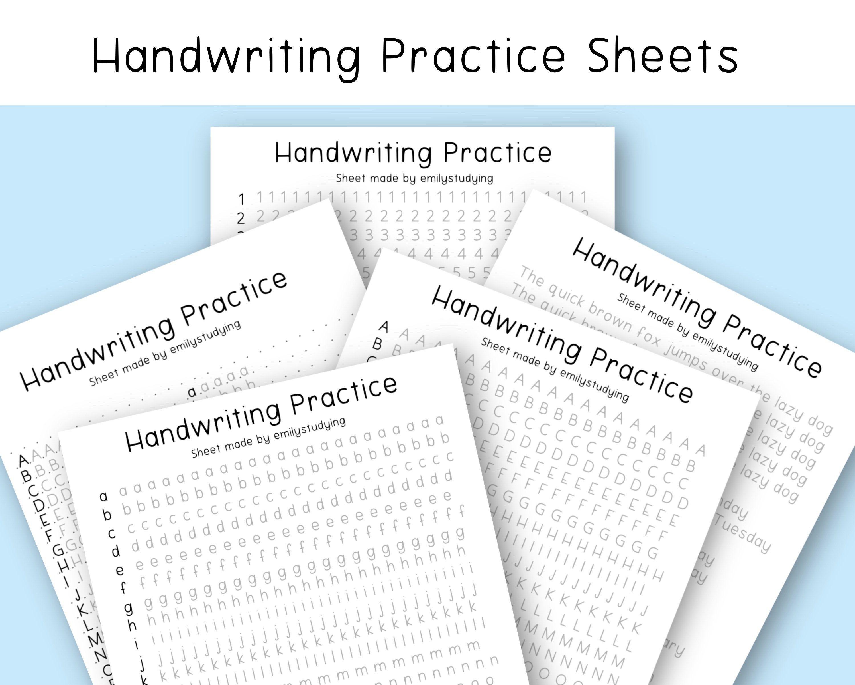 Handwriting Practice Sheets In