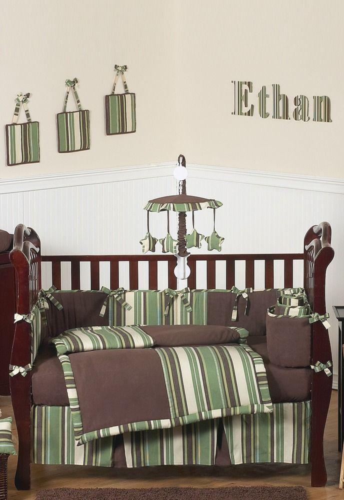 Green And Brown Ethan Baby Bedding Modern Boys 9pc Crib