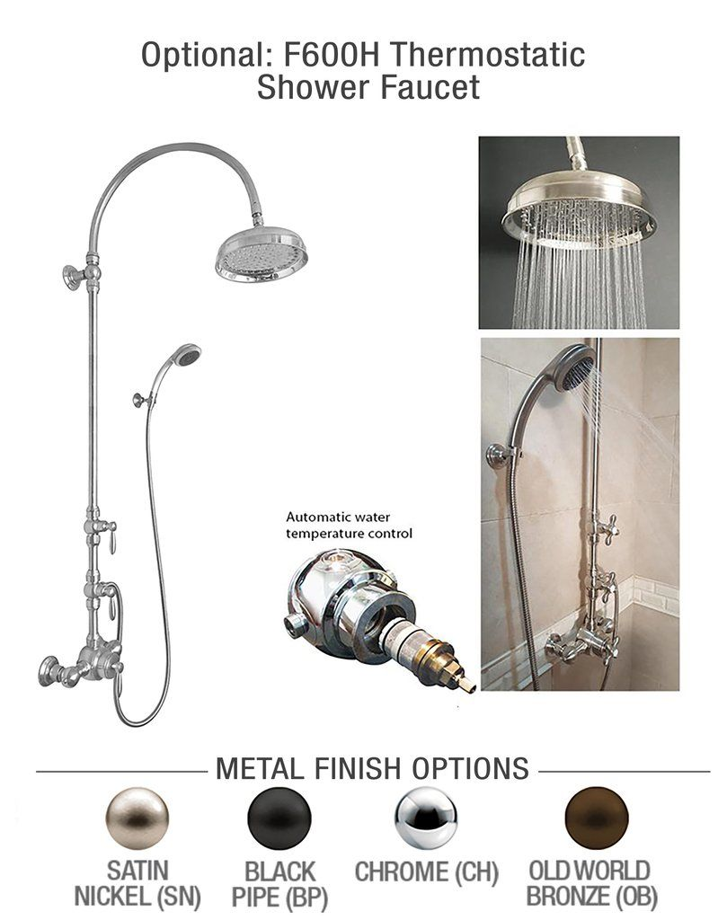 F600h Exposed Thermostatic Shower Faucet With Hand Shower Alcove