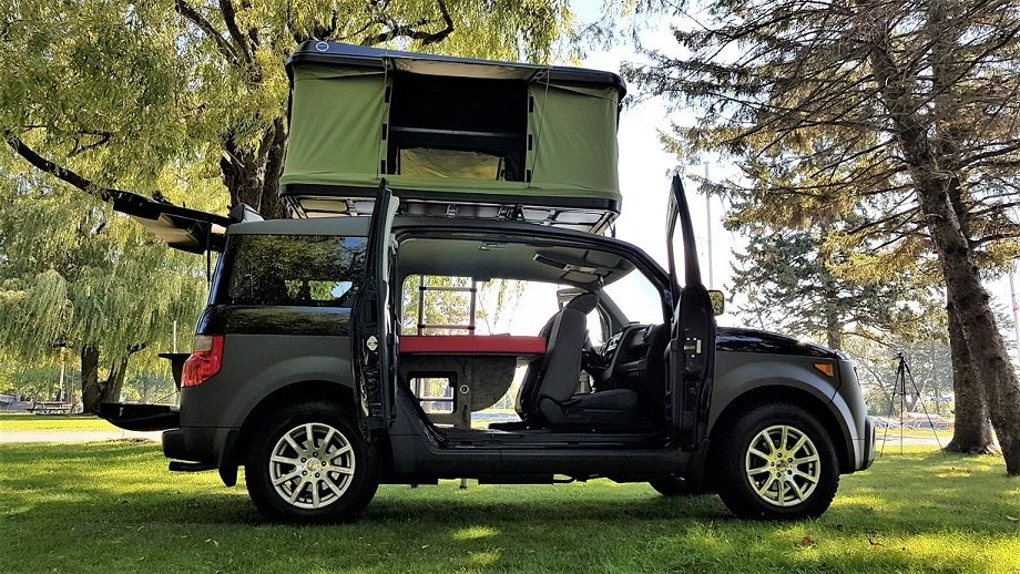Honda Element Sleeping Platform And Hard Shell Roof Top Tent By Freeway Camper Kit Honda Element Honda Element Camping Honda Element Camper