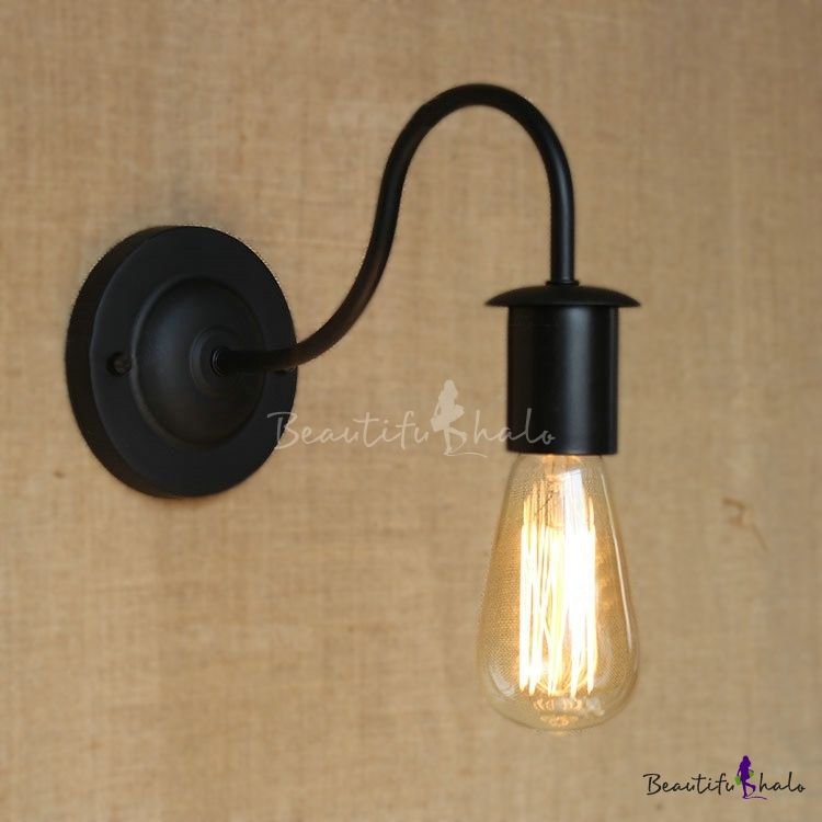 Industrial Gooseneck 1 Light Wall Sconce In Black For Stairs