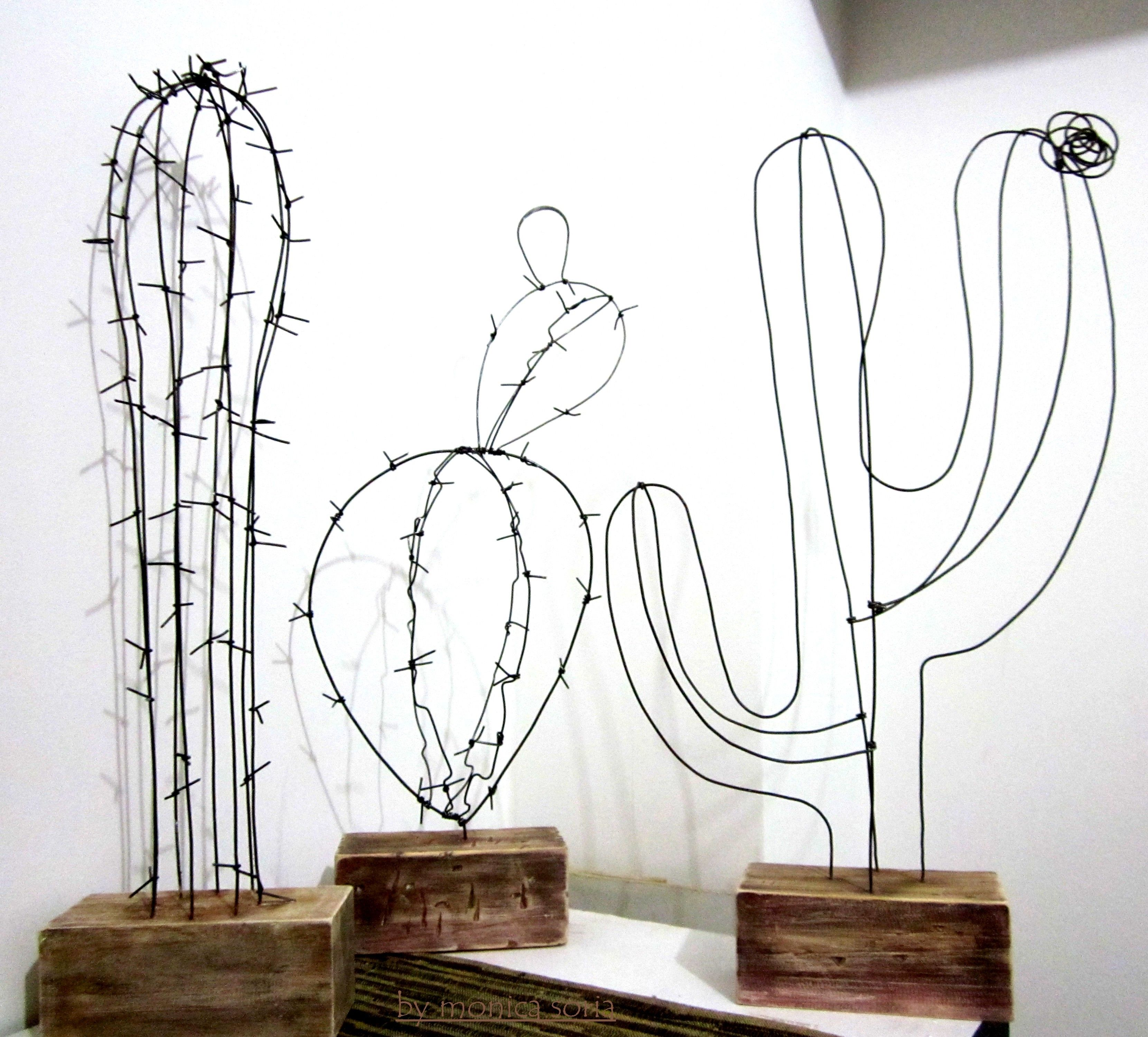DIY wire Cactuses for home. Wire decor. Wooden stands ...