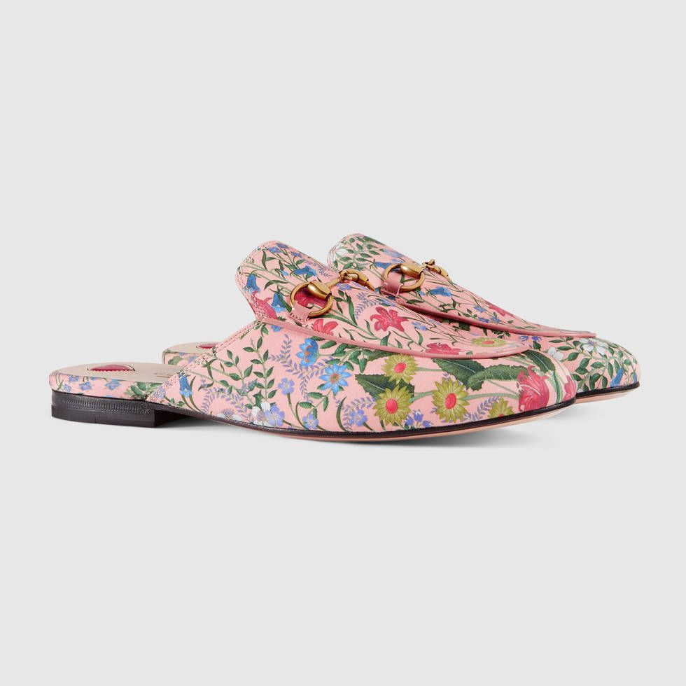 72ca70e20f7c Gucci Princetown pink flower print slippers