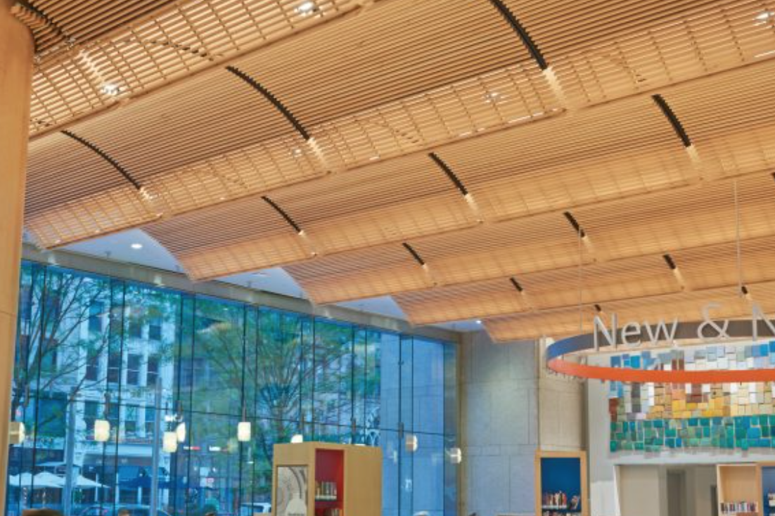 Education | Ceiling Open Cell Wood Ceiling System By Armstrong Ceiling  Systems A Decorative, Solid