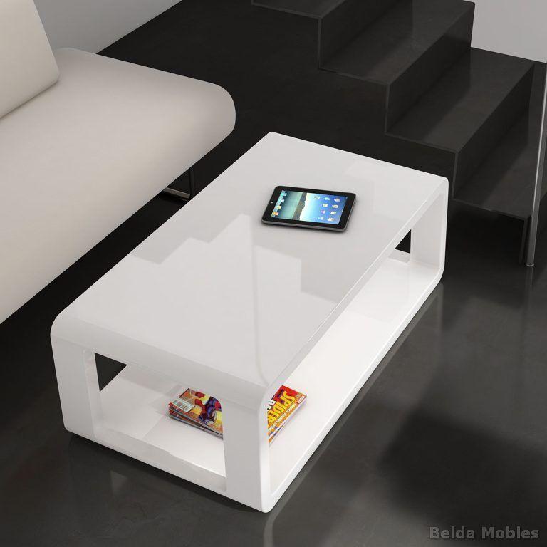 Mesa centro moderna lacada blanco brillo. Mesa para el centro del ...