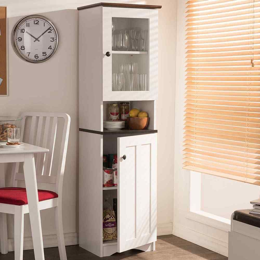 Tall Kitchen Cabinet Freestanding White Storage Pantry Cupboard