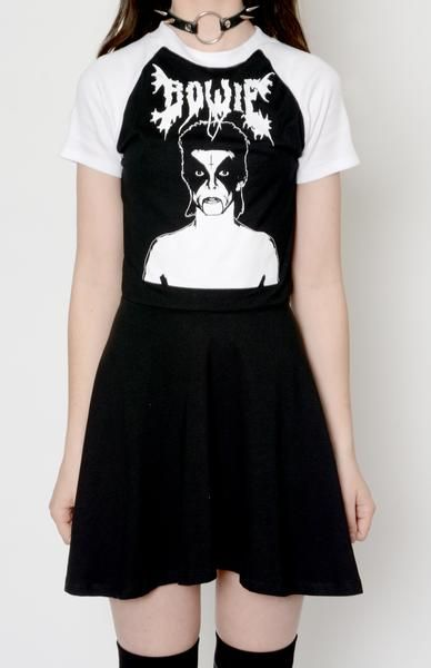 f5d4121e736ed9 Custom made Black Metal Bowie Baby Doll Dress! Professionally sewn. Altered  from a large men's t-shirt. Super soft cotton. Short sleeves baseball style.