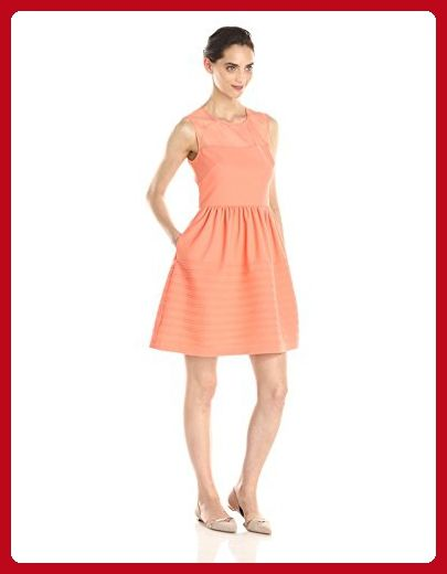 Betsey Johnson Women's Illusion Texture Knit Dress, Tangerine, 10 - All about women (*Amazon Partner-Link)