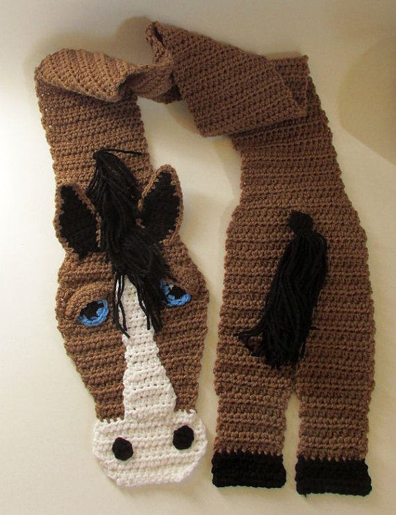 Horse Lover Gift, Crochet Horse Scarf, Horse Gift, Girls Scarf, Fun ...