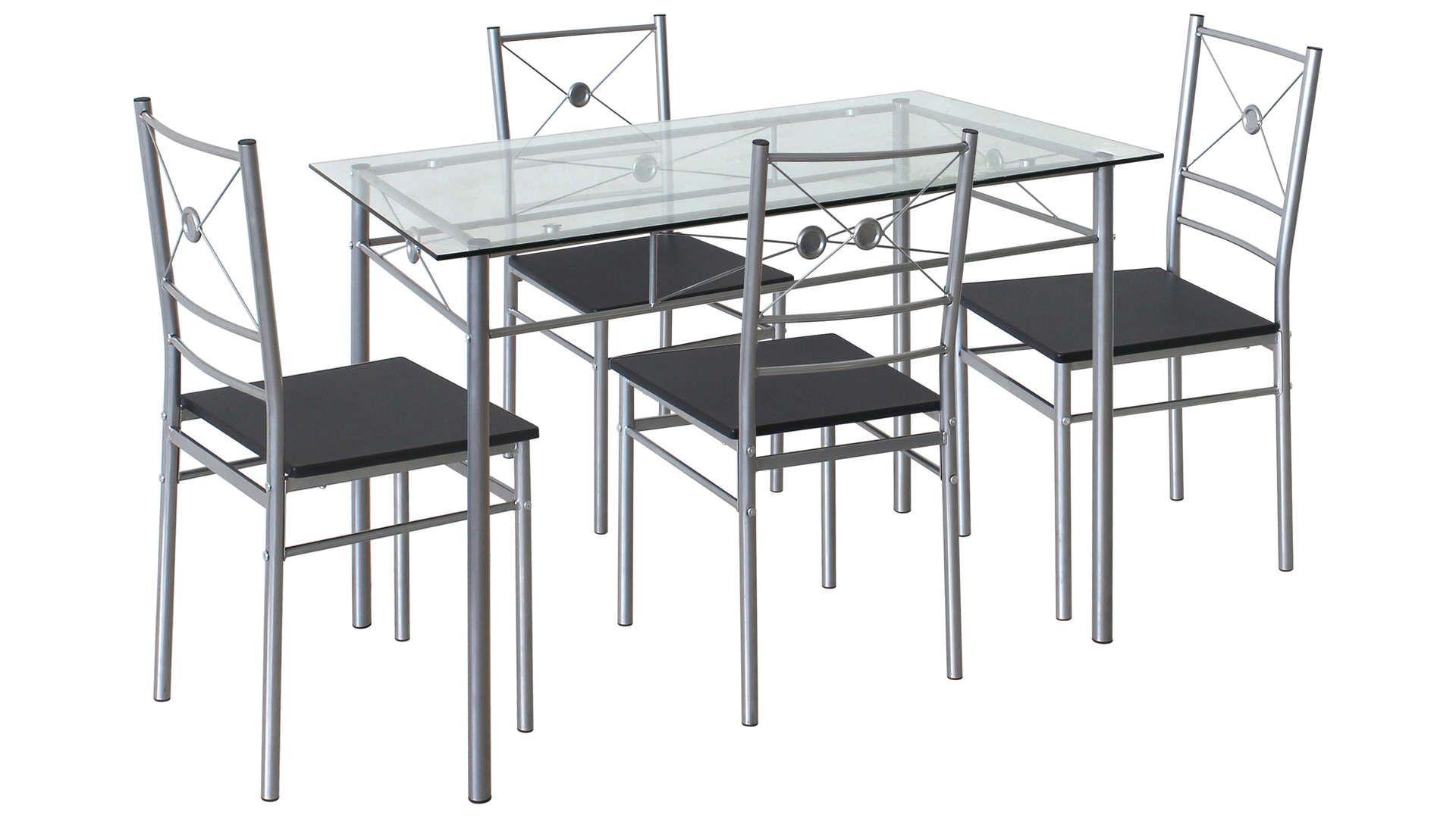 Ensemble Table 4 Chaises De Cuisine Hanoi Coloris Gris Table