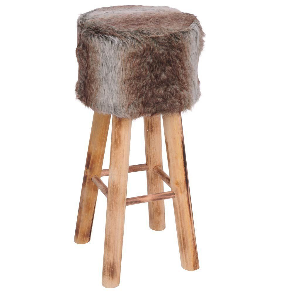 Barhocker fellhocker tresenhocker hocker stuhl fell holz for Barhocker amazon