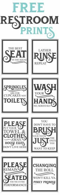 Excellent Free Vintage Inspired Bathroom Printables Funny Quotes To Hang Up In The Restroom Farmhouse Style Bathroom Printables Vintage Bathroom Boys Bathroom