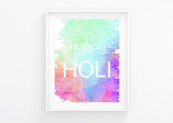 Happy Holi Watercolor Digital Print 8 5 X 11 Plus Bonus Hindi