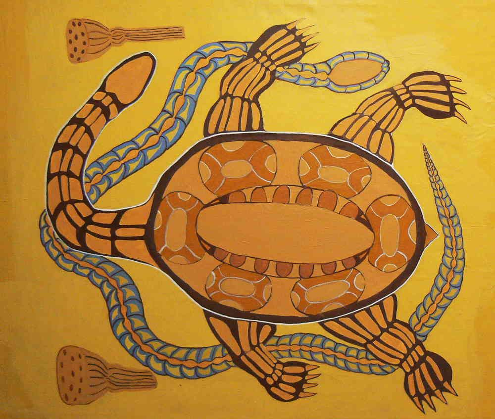 This painting tells the dreamtime story of the Snake and the ...