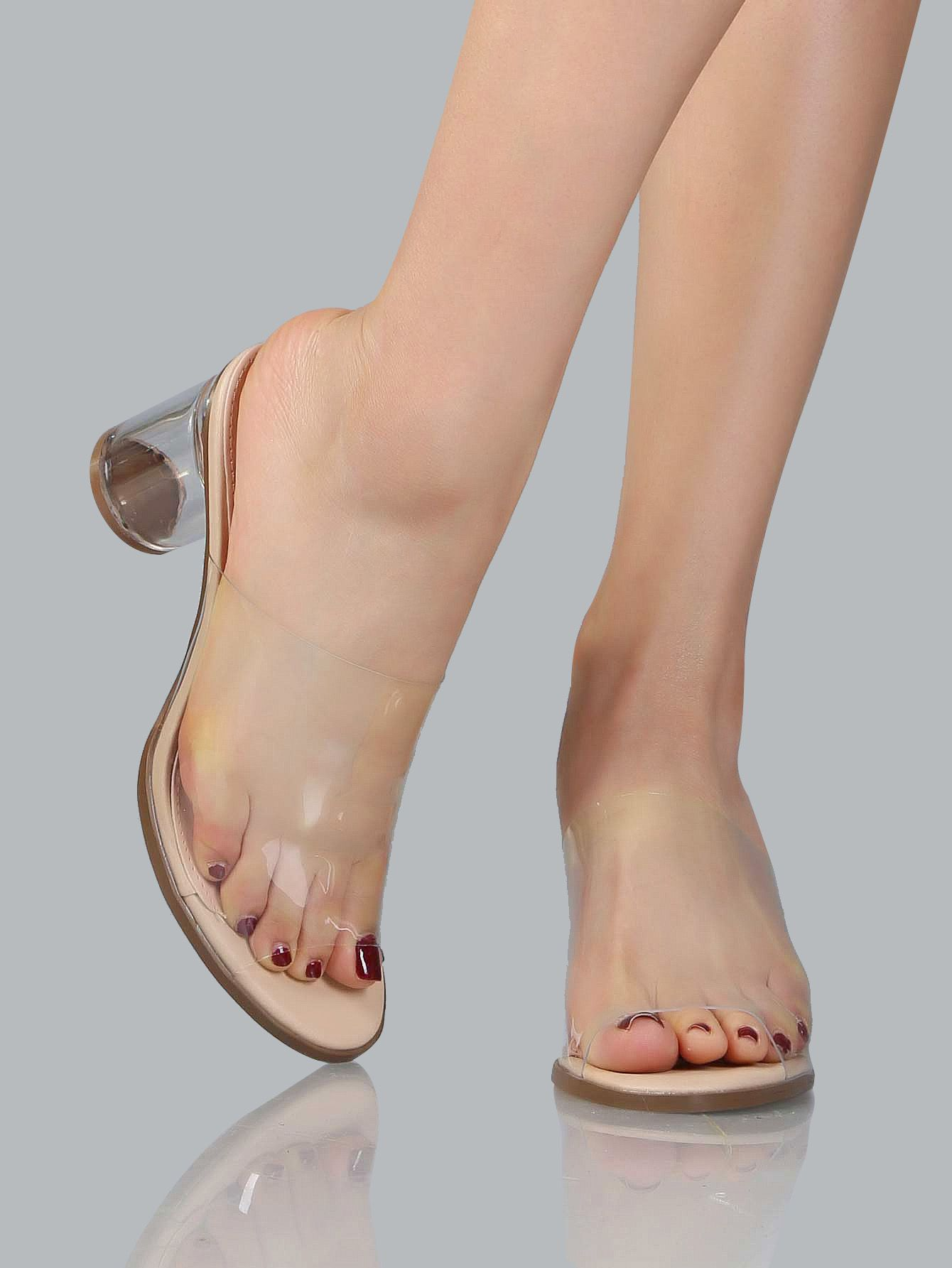 b00aef70e Online shopping for Perspex Transparent Mules NUDE from a great selection  of women s fashion clothing   more at MakeMeChic.COM.