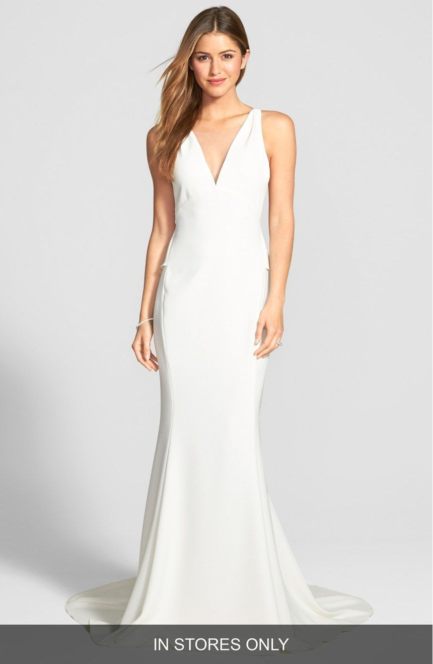 Back Detail Flared Silk Crepe Gown