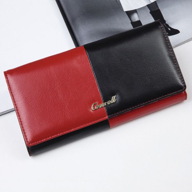 Good price Patchwork Wallet Genuine Leather Women s Purse Simple Elegant  Clutch Bags Female Evening Bags Free 48d278186a536