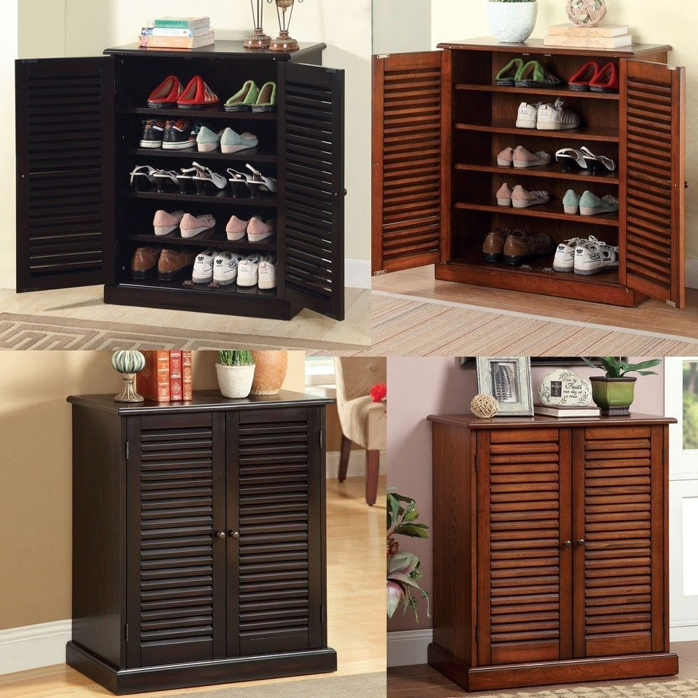 5 Shelf Wooden Shoe Cabinet With Doors | http://advice-tips.com ...