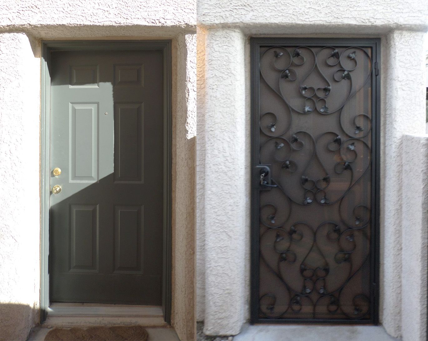 Before After Wrought Iron Security Screen Door Iron Entry Doors Wrought Iron Security Doors Security Screen Door