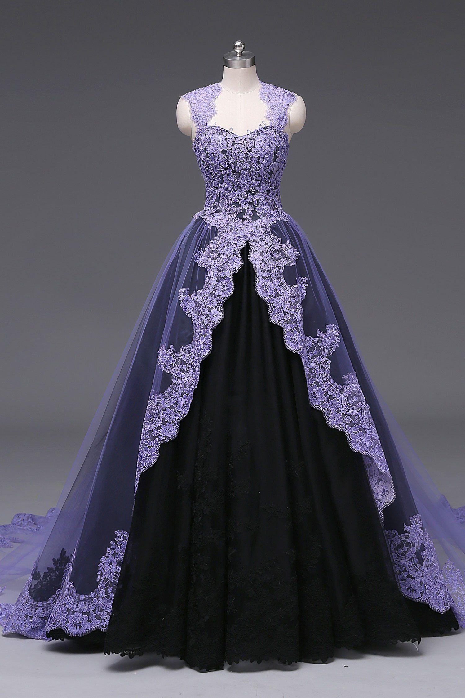 Unique Purple Black Ball Gown Wedding Dress October In 2021 Black Ball Gown Wedding Dresses Unique Gothic Wedding Dress [ 2250 x 1500 Pixel ]