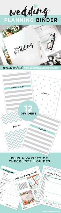 This #FreePrintable Wedding Planning Binder comes in 3 color - sample wedding planning checklist