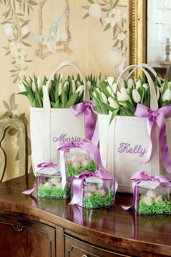 Festive easter luncheon easter easter baskets and favors heres a fun take on an easter basket for adults fill custom ll bean tote negle Image collections