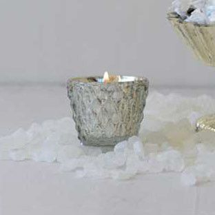 "Embossed Mercury Glass Tealight Holder in Silver 3"" Tall"