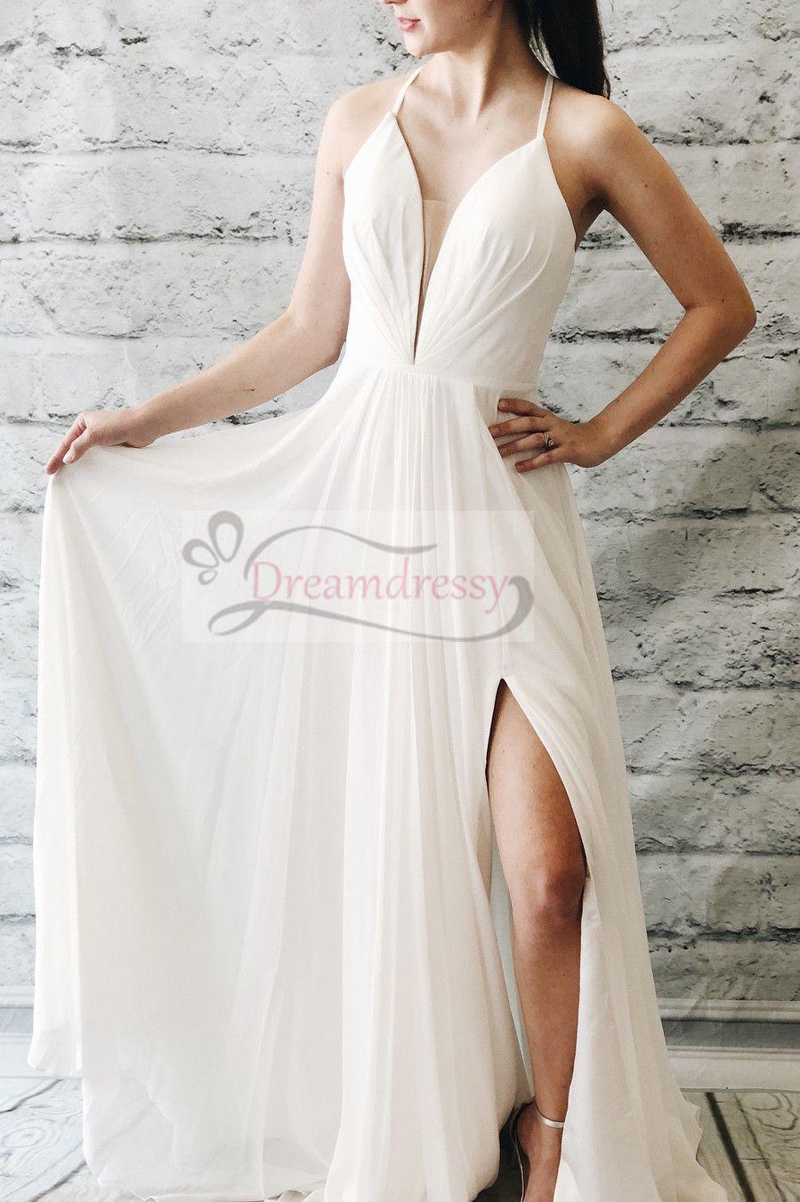 Simple aline ivory long wedding dress in prom dresses