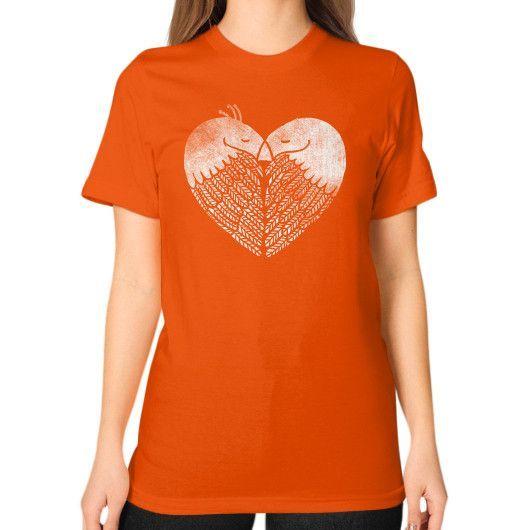 Love Birds Unisex T-Shirt (on woman)