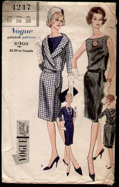 Vogue 4247 1961 Sheath Dress and Wrap Coat | Modegeschichte